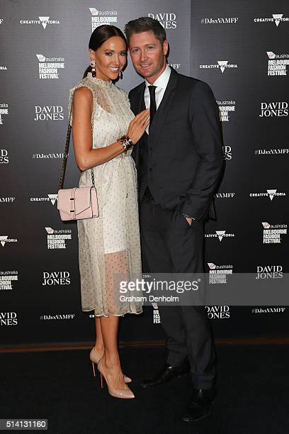 Kyly Clarke and Michael Clarke pose as they arrive for the David Jones opening event as part of Virgin Australia Melbourne Fashion Festival on March...