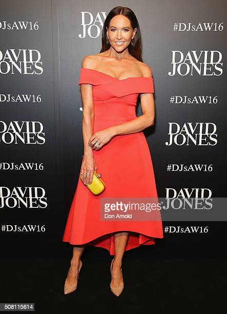 Kyly Clarke arrives ahead of the David Jones Autumn/Winter 2016 Fashion Launch at David Jones Elizabeth Street Store on February 3 2016 in Sydney...