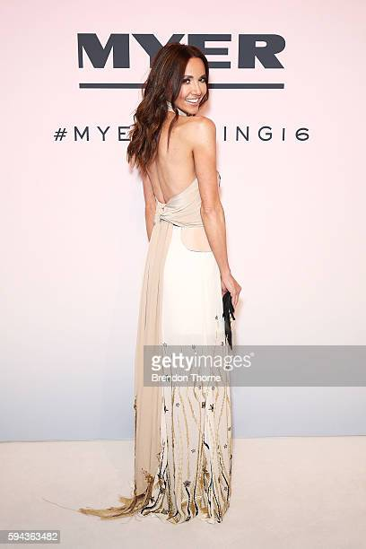 Kyly Clarke arrives ahead of the Myer Spring 16 Fashion Launch at Hordern Pavilion on August 23 2016 in Sydney Australia