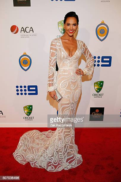 Kyly Clarke arrives at the 2016 Allan Border Medal ceremony at Crown Palladium on January 27 2016 in Melbourne Australia