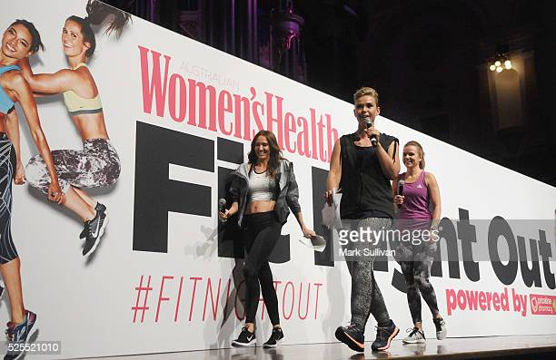 Kyly Clarke Edwina Bartholomew and Felicity Harley onstage during the launch of Women's Health Fit Night Out at Sydney Town Hall on April 28 2016 in...