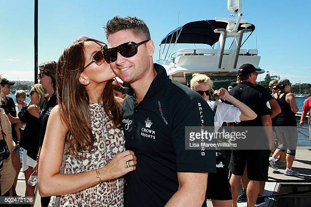 Kyly Clarke farewells Michael Clarke during Perpetual LOYAL's Boxing Day Bon Voyage at Rose Bay Marina on December 26 2015 in Sydney Australia