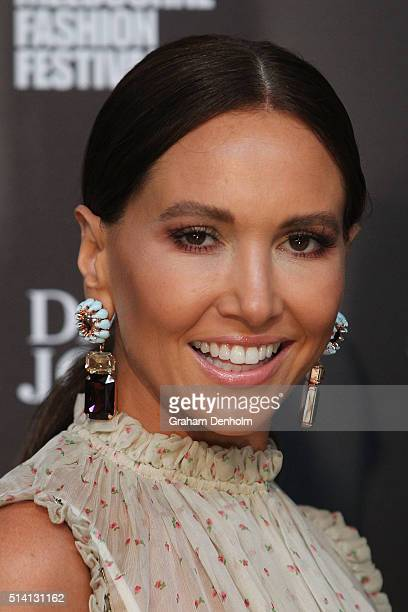 Kyly Clarke poses as she arrives for the David Jones opening event as part of Virgin Australia Melbourne Fashion Festival on March 7 2016 in...