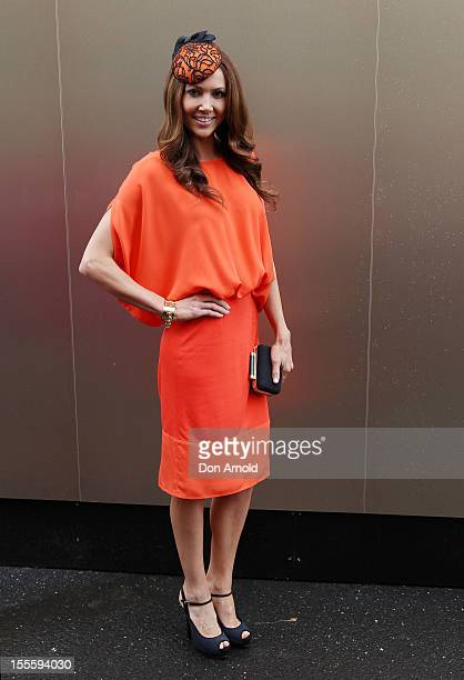 Kyly Clarke poses at the Emirates marquee at the Melbourne Cup at Flemington Racecourse on November 6 2012 in Melbourne Australia