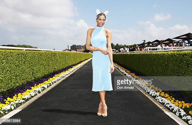 Kyly Clarke poses at The Star Epsom Day at Royal Randwick Racecourse on October 4 2014 in Sydney Australia