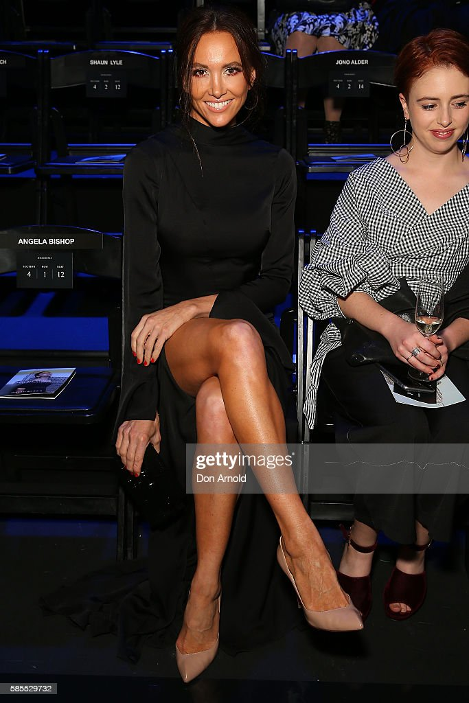 Kyly Clarke sits front row ahead of the runway at the David Jones Spring/Summer 2016 Fashion Launch at Fox Studios on August 3, 2016 in Sydney, Australia.