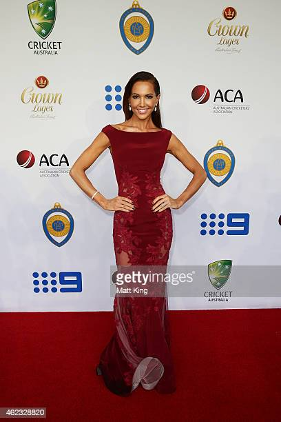 Kyly Clarke, wife of Michael Clarke of Australia, arrives ahead of the 2015 Allan Border Medal at Carriageworks on January 27, 2015 in Sydney,...