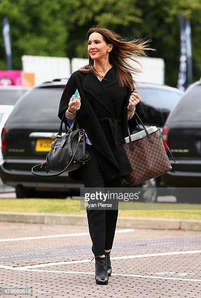 Kyly Clarke wife of Michael Clarke of Australia arrives during day one of the 1st Investec Ashes Test match between England and Australia at SWALEC...