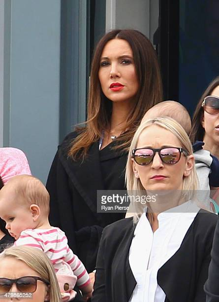 Kyly Clarke wife of Michael Clarke of Australia looks on during day one of the 1st Investec Ashes Test match between England and Australia at SWALEC...