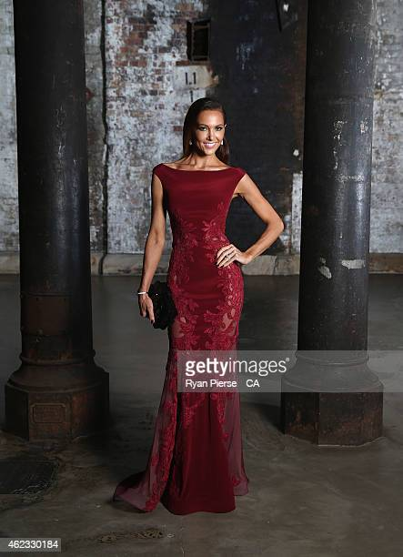 Kyly Clarke, wife of Michael Clarke of Australia, poses ahead of the 2015 Allan Border Medal at Carriageworks on January 27, 2015 in Sydney,...