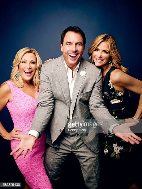 Kym Douglas Mark Steines and Debbie Matenopoulos are photographed at the Hallmark Channel Summer 2016 TCA's on July 27 2016 in Los Angeles California