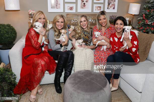 Kym Douglas Paige Hemmis Brittany Bristow Debbie Matenopoulos and Larissa Wohl on the set of Hallmark's Home Family at Universal Studios Hollywood on...