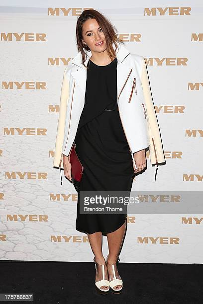 Kym Ellery arrives at the Myer Spring/Summer 2014 Collections Launch at Fox Studios on August 8 2013 in Sydney Australia
