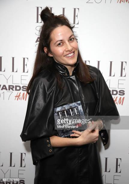 Kym Ellery poses in the winners room with the Emerging Brand of The Year award at the Elle Style Awards 2017 on February 13 2017 in London England