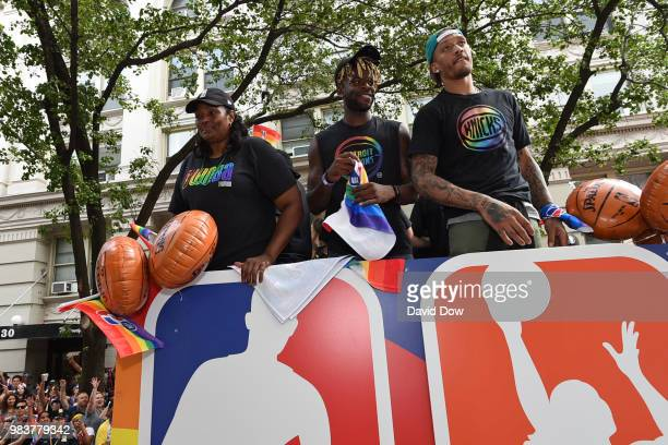 Kym Hampton Reggie Bullock and Michael Beasley during the NYC Pride Parade on June 24 2018 in New York City New York NOTE TO USER User expressly...