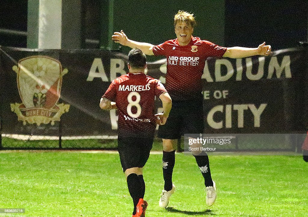 Kym Harris of Hume City celebrates after scoring their first goal during the FFA Cup round of 32 match between Hume City and Marconi Stallions at ABD Stadium on July 27, 2016 in Melbourne, Australia.