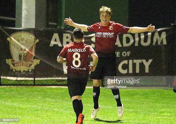 Kym Harris of Hume City celebrates after scoring their first goal during the FFA Cup round of 32 match between Hume City and Marconi Stallions at ABD...