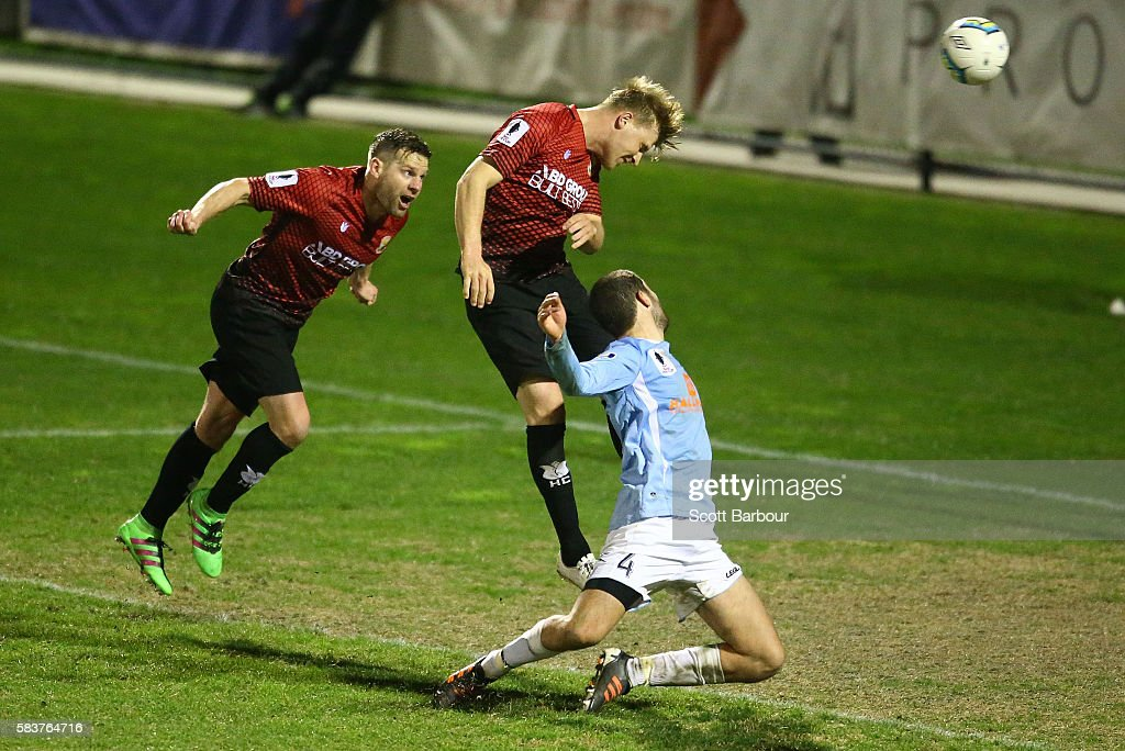 Kym Harris of Hume City scores their first goal during the FFA Cup round of 32 match between Hume City and Marconi Stallions at ABD Stadium on July 27, 2016 in Melbourne, Australia.