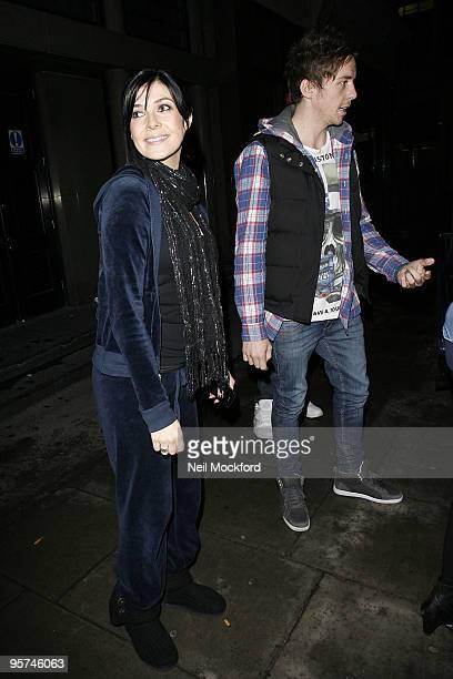 Kym Marsh and Danny Jones sighted leaving BBC Radio One Studios on January 13 2010 in London England