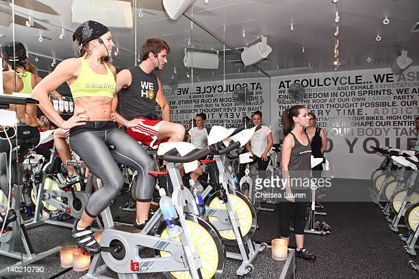 Kym Perfetto, Roarke Walker and Barbara Bush attend SoulCycle charity ride to benefit the Global Health Corps on February 29, 2012 in West Hollywood,...