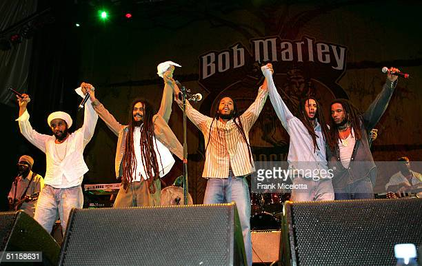 """Kymani, Damian, Ziggy, Julian and Stephen Marley sons of Bob Marley, perform onstage at the """"Roots, Rock, Reggae Tour 2004"""" at Prospect Park August..."""