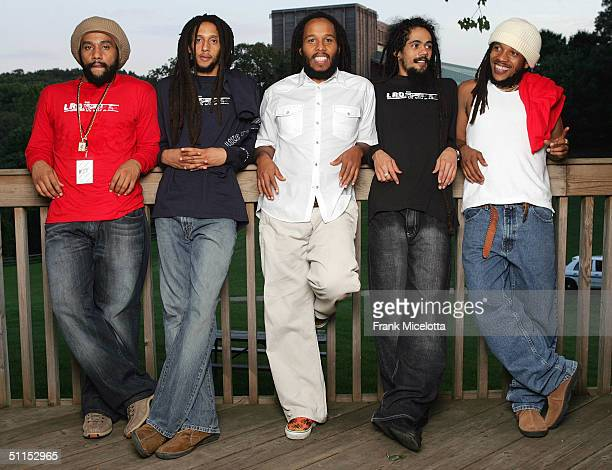 """Kymani, Julian, Ziggy, Damian and Stephen Marley sons of Bob Marley pose for a photo after their performance at the """"Roots, Rock, Reggae Tour 2004""""..."""