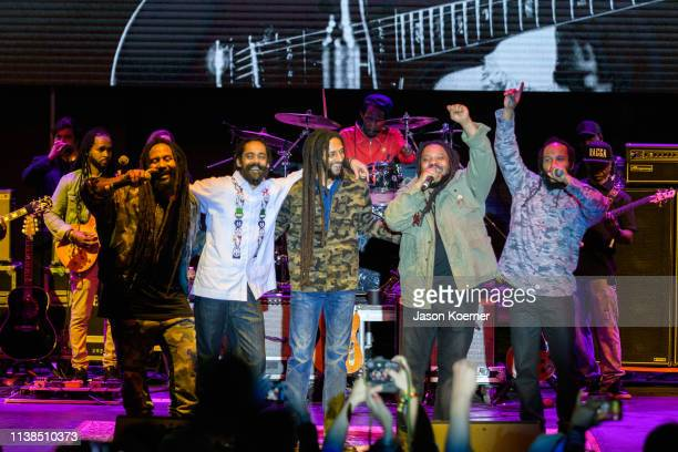 Ky-Mani Marley, Damian Marley, Julian Marley, Stephen Marley and Ziggy Marley perform on stage during Kaya Fest at Bayfront Park Amphitheater on...