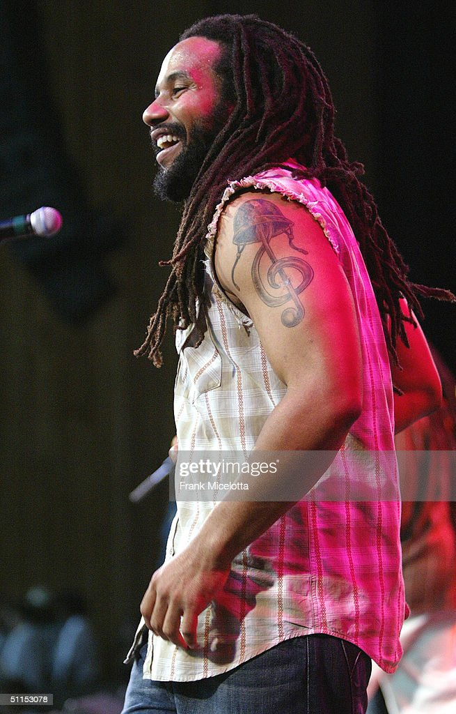 Kymani Marley, son of Bob Marley, performs onstage at the 'Roots, Rock, Reggae Tour 2004' at the Filene Center August 8, 2004 in Vienna, Virginia
