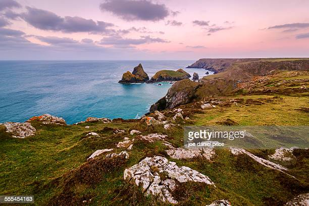 kynance cove, lizard, cornwall, england - coastline stock photos and pictures