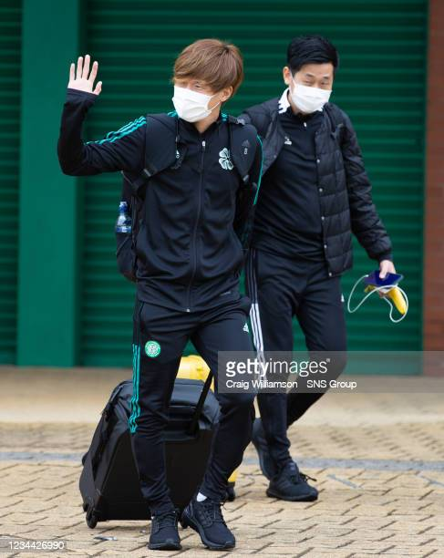 Kyogo Furuhashi is pictured as Celtic depart for their Europa League tie against Jablonec, at Celtic Park, on August 03 in Glasgow, Scotland.