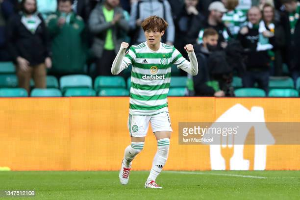 Kyogo Furuhashi of Celtic celebrates after scoring their side's first goal during the UEFA Europa League group G match between Celtic FC and...