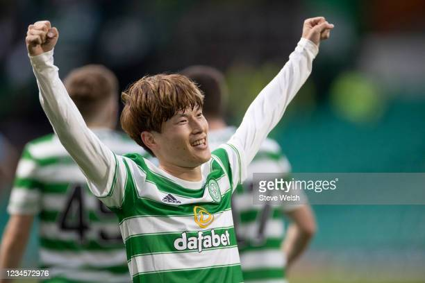 Kyogo Furuhashi of Celtic celebrates his third goal during the Cinch Scottish Premiership match between Celtic FC and Dundee FC on August 8, 2021 in...