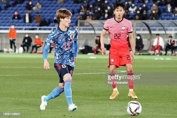 Kyogo Furuhashi of Japan in action during the international friendly match between Japan and South Korea at the Nissan Stadium on March 25, 2021 in...