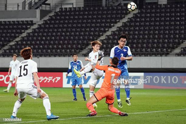 Kyogo Furuhashi of Japan scores his side's ninth goal during the FIFA World Cup Asian Qualifier 2nd round between Mongolia and Japan at Fukuda Denshi...