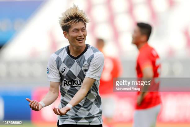 Kyogo Furuhashi of Vissel Kobe celebrates after scoring the opening goal during the AFC Champions League Group G match between Guangzhou Evergrande...