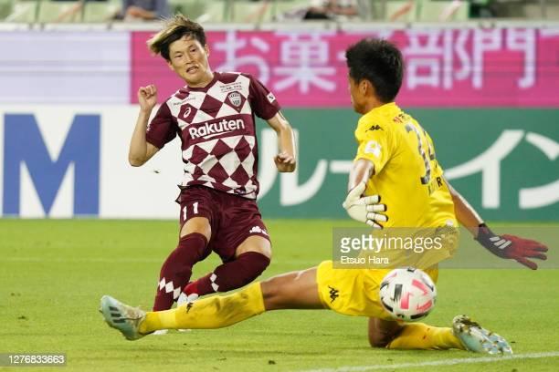 Kyogo Furuhashi of Vissel Kobe scores his side's third goal during the J.League Meiji Yasuda J1 match between Vissel Kobe and Consadole Sapporo at...
