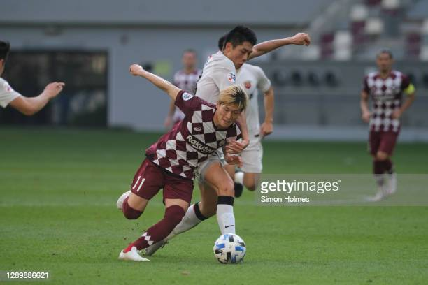 Kyogo Furuhashi of Vissel Kobe warms up before the AFC Champions League Round of 16 match between Vissel Kobe and Shanghai SIPG at the Khalifa...