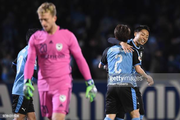 Kyohei Noborizato of Kawasaki Frontale cebebrates scoring a goal with Yu Kobayashi of Kawasaki Frontale during the AFC Champions League Group F match...