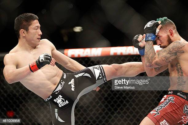 Kyoji Horiguchi kicks Louis Gaudinot in a flyweight fight during the UFC 182 event at the MGM Grand Garden Arena on January 3, 2015 in Las Vegas,...