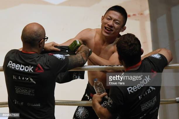 Kyoji Horiguchi of Japan celebrates his TKO victory against Gabriel Oliveira of Brazil in the bantam weight bout during the RIZIN Fighting World...