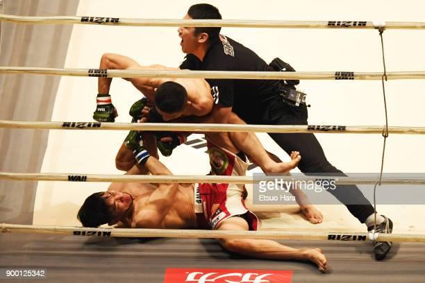 Kyoji Horiguchi of Japan KOs Shintaro Ishiwatari of Japan in the bantam weight GP final bout during the RIZIN Fighting World Grand-Prix 2017 final...