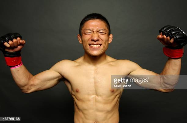 Kyoji Horiguchi poses for a photo backstage during the UFC Fight Night event inside the Saitama Arena on September 20, 2014 in Saitama, Japan.