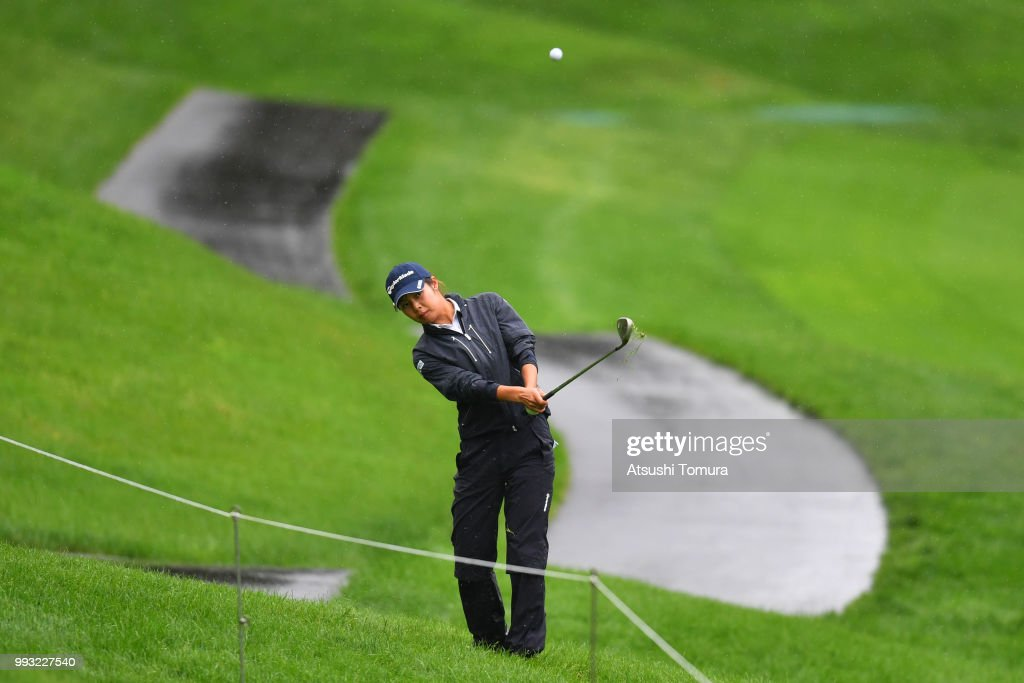 Kyoka Matsumori of Japan chips onto the 16th green during the second round of the Nipponham Ladies Classic at the Ambix Hakodate Club on July 7, 2018 in Hokuto, Hokkaido, Japan.