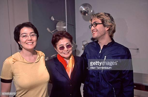 Kyoko Cox Yoko Ono and Sean Lennon at an opening of Yoko's art exhibit New York New York April 24 1999