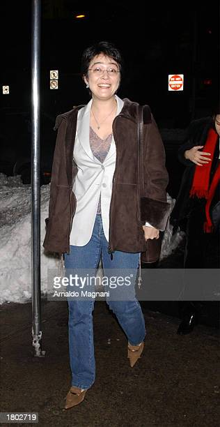 Kyoko Helfrac Yoko's daughter arrives at Mr Chow for Yoko Ono's 70th birthday party celebration February 18 2003 in New York City New York