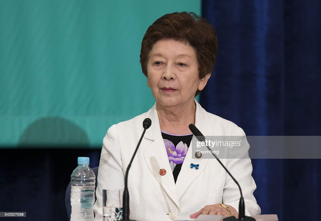 Kyoko Nakayama, leader of the Party for Japanese Kokoro, attends a debate with other party leaders ahead of the upper house election at the Japan National Press Club in Tokyo, Japan, on Tuesday, June 21, 2016. It is for Bank of Japan to decide what monetary policy methods to use, said Shinzo Abe, Japan's prime minister, during the debate. Photographer: Tomohiro Ohsumi/Bloomberg via Getty Images