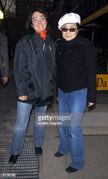 Kyoko Ono Cox and her mother Yoko Ono leave a restaurant March 20 2004 in New York City