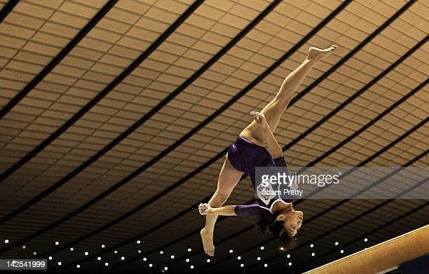 Kyoko Oshima of Japan competes on the Balance Beam during day one of the 66th All Japan Artistic Gymnastics All Around Championships at Yoyogi...