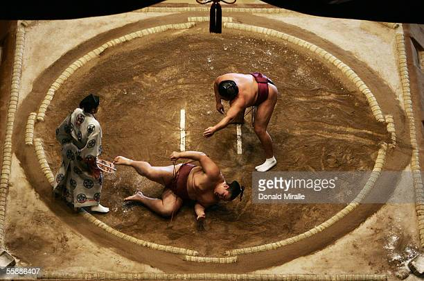 Kyokutenho of Mongolia throws Tamaasuka of Japan under the Dohyo as the Gyoji officiates during the Grand Sumo Championship on October 9 2005 at...