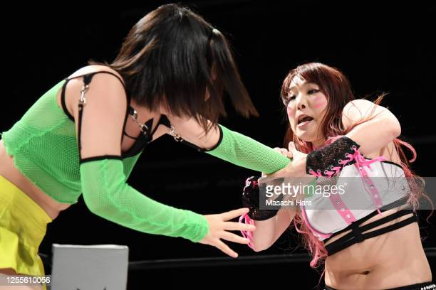 Kyona Jungle and Rina compete during the Women's Pro-Wrestling 'Stardom' at the Shinkiba 1st Ring on July 11, 2020 in Tokyo, Japan.